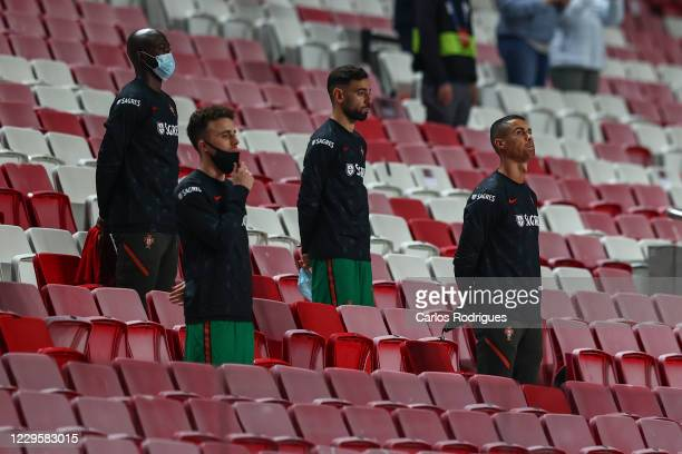 Danilo Pereira of Portugal and Paris SaintGermain Bruno Fernandes of Portugal and Manchester United Diogo Jota of Portugal and Liverpool FC and...