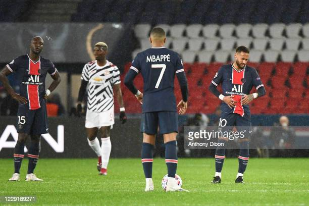 Danilo PEREIRA of PSG Kylian MBAPPE of PSG and NEYMAR JR of PSG dejected during the UEFA Champions League match between Paris Saint Germain and...