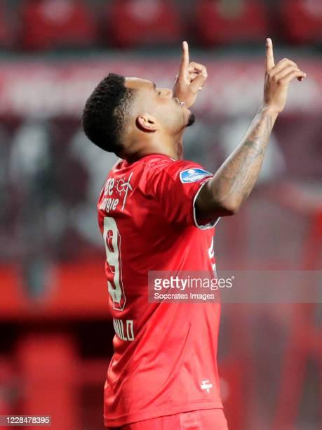 Danilo Perreira of FC Twente celebrates 2-0 during the Dutch Eredivisie match between Fc Twente v Fortuna Sittard at the De Grolsch Veste on...