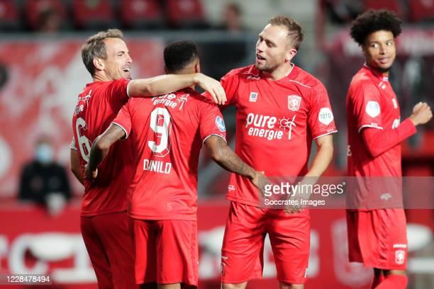 Danilo Perreira of FC Twente celebrates 2-0 with Wout Brama of FC Twente, Xandro Schenk of FC Twente during the Dutch Eredivisie match between Fc...
