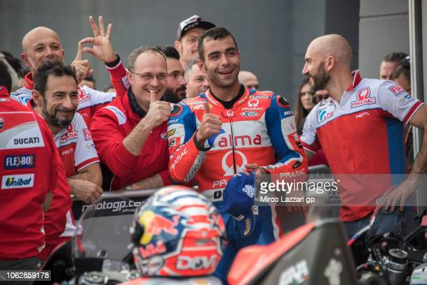 Danilo Petrucci of Italy and Alma Pramac Racing celebrates the indipendent team pole position at the end of the qualifying practice during the MotoGP...