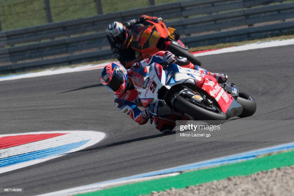 Danilo Petrucci of Italy and Alma Pramac Racing leads the field during the MotoGP Netherlands - Free Practice on June 29, 2018 in Assen, Netherlands.