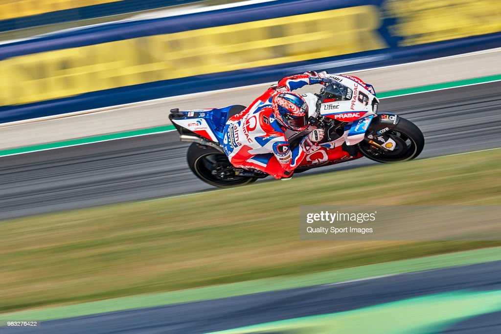 Danilo Petrucci of Italy and Alma Pramac Racing rides during free practice for the MotoGP of Catalunya at Circuit de Catalunya on at Circuit de Catalunya on June 16, 2018 in Montmelo, Spain.