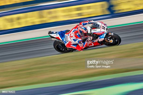 Danilo Petrucci of Italy and Alma Pramac Racing rides during free practice for the MotoGP of Catalunya at Circuit de Catalunya on at Circuit de...