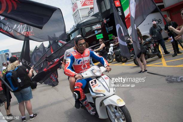 Danilo Petrucci of Italy and Alma Pramac Racing rides the scooter in paddock during the MotoGp of Catalunya Free Practice at Circuit de Catalunya on...