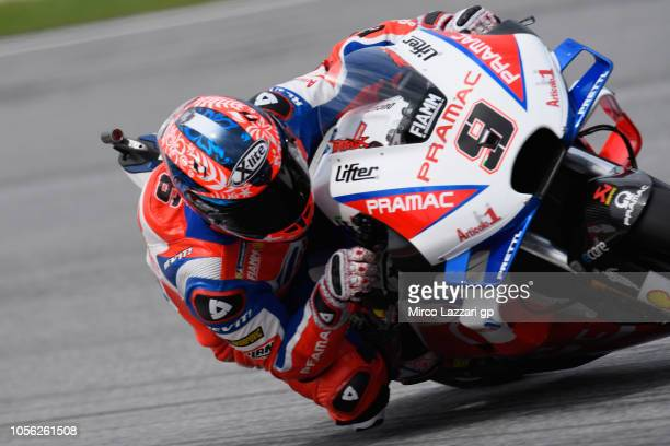 Danilo Petrucci of Italy and Alma Pramac Racing rounds the bend during the MotoGP Of Malaysia Free Practice at Sepang Circuit on November 2 2018 in...