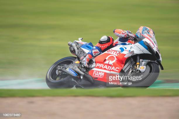 Danilo Petrucci of Italy and Alma Pramac Racing rounds the bend during the MotoGP Of Valencia Free Practice at Ricardo Tormo Circuit on November 16...