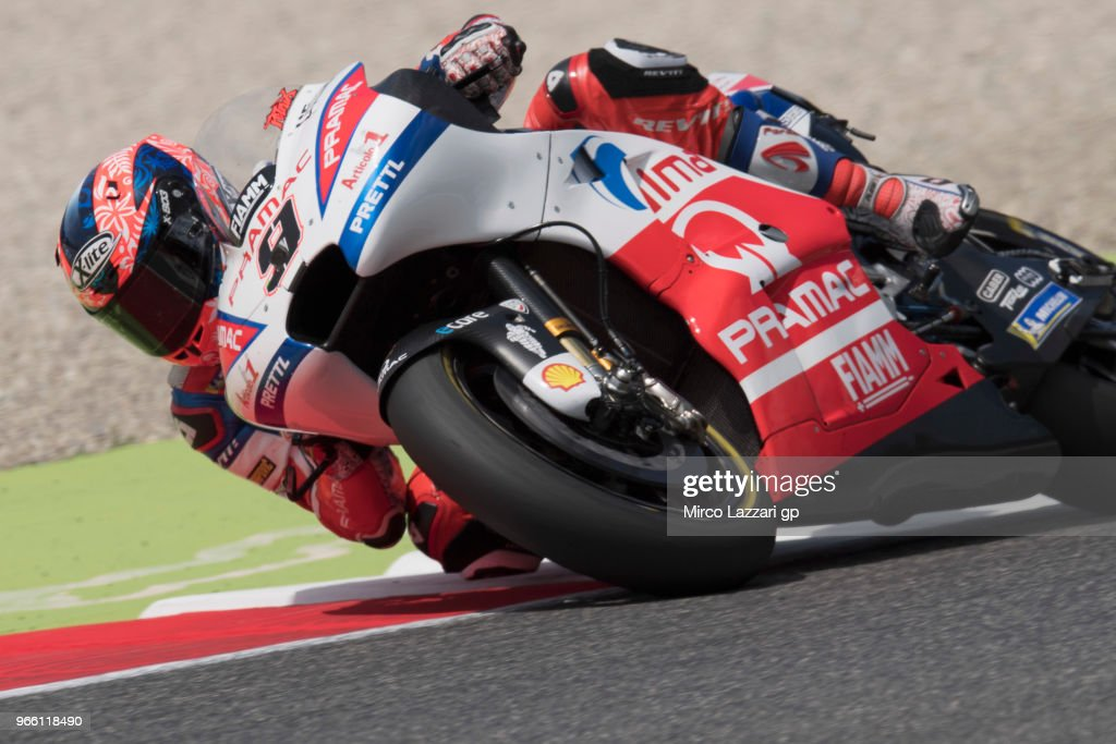 Danilo Petrucci of Italy and Alma Pramac Racing rounds the bend during the qualifying practice during the MotoGp of Italy - Qualifying at Mugello Circuit on June 2, 2018 in Scarperia, Italy.