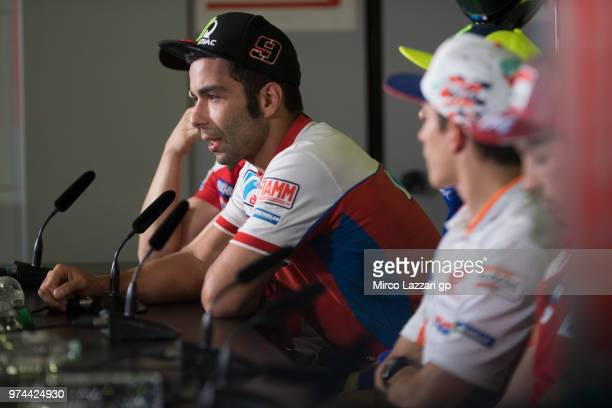 Danilo Petrucci of Italy and Alma Pramac Racing speaks during the press conference preevent during the MotoGp of Catalunya Previews at Circuit de...