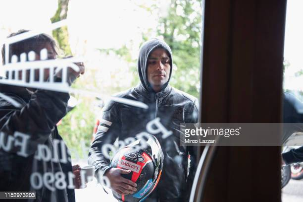 Danilo Petrucci of Italy and Ducati Team arrives in restaurant Passo della Futa during the MotoGp of Italy Filming Day at Mugello Circuit on May 29...