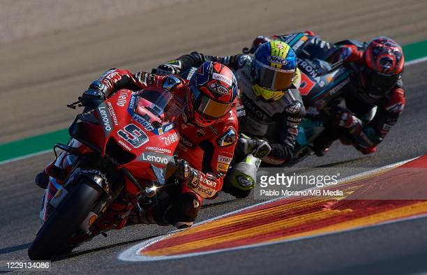 Danilo Petrucci of Italy and Ducati Team leads the group during the qualifying for the MotoGP of Aragon at Motorland Aragon Circuit on October 17,...
