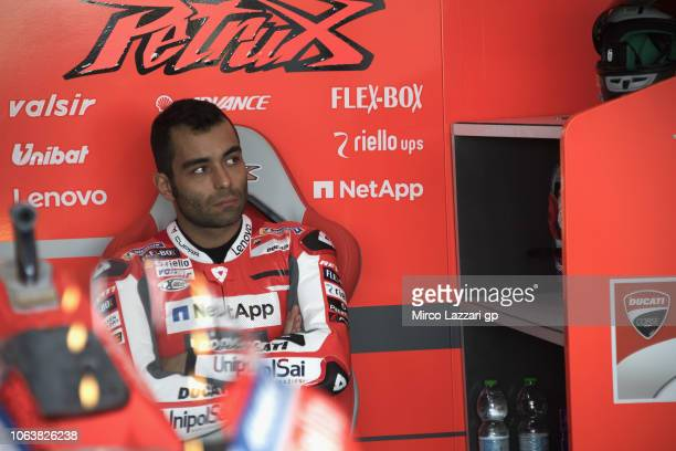 Danilo Petrucci of Italy and Ducati Team looks on in box during the MotoGP Tests In Valencia at Ricardo Tormo Circuit on November 20 2018 in Valencia...