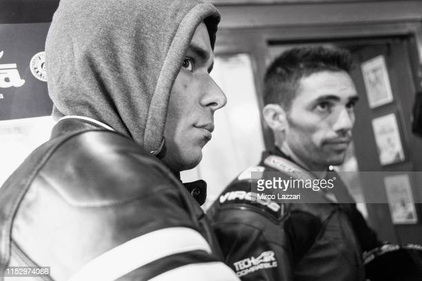 Danilo Petrucci of Italy and Ducati Team looks on in restaurant Passo della Futa during the MotoGp of Italy Filming Day at Mugello Circuit on May 29...