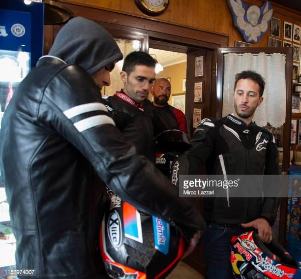 SCARPERIA ITALY MAY 29 Danilo Petrucci of Italy and Ducati Team Michele Pirro of Italy and Ducati Team and Andrea Dovizioso of Italy and Ducati Team...