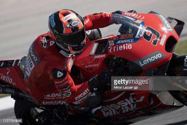 Danilo Petrucci of Italy and Ducati Team rounds the bend during the MotoGP Tests In Sepang at Sepang Circuit on February 06 2019 in Kuala Lumpur...