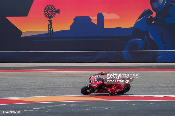Danilo Petrucci of Italy and Ducati Team rounds the bend during the MotoGp Red Bull US Grand Prix of The Americas Qualifying at Circuit of The...