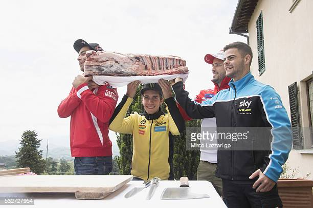 Danilo Petrucci of Italy and Octo Pramac Racing Alex Rins of Spain and Paginas Amarillas HP40 Romano Fenati of Italy and Sky Racing Team VR46 Andrea...