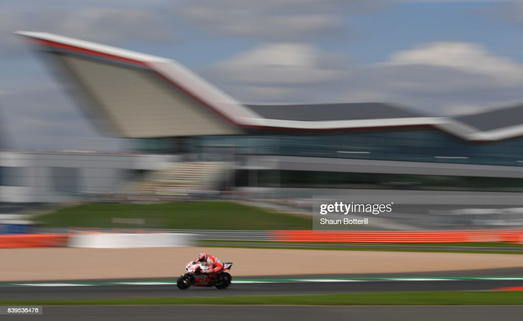 Danilo Petrucci of Italy and OCTO Pramac Racing during Free Practice 4 at Silverstone Circuit on August 26, 2017 in Northampton, England.