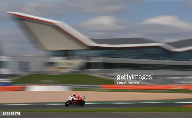 Danilo Petrucci of Italy and OCTO Pramac Racing during Free Practice 4 at Silverstone Circuit on August 26 2017 in Northampton England