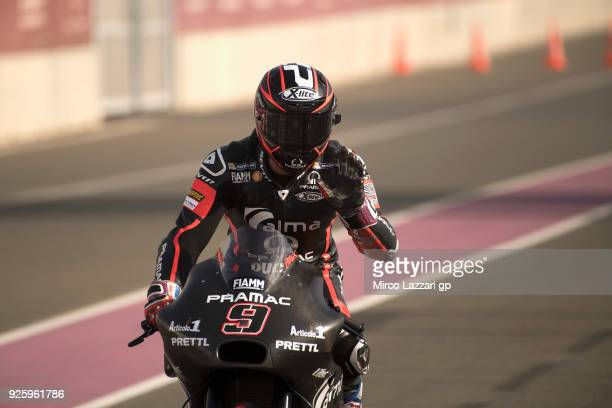 Danilo Petrucci of Italy and Octo Pramac Racing returns in box and greets during the MotoGP Testing Qatar at Losail Circuit on March 1 2018 in Doha...
