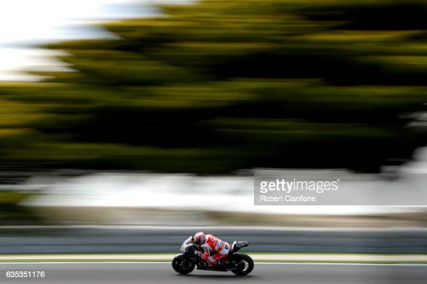 Danilo Petrucci of Italy and Octo Pramac Racing rides during 2017 MotoGP preseason testing at Phillip Island Grand Prix Circuit on February 15 2017...