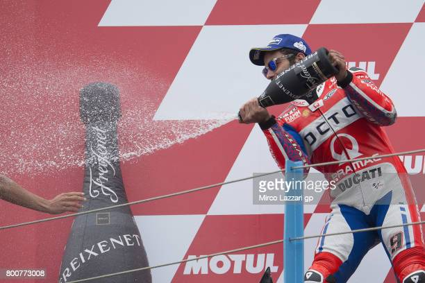 Danilo Petrucci of Italy and Octo Pramac Yakhnich celebrates the second place on the podium at the end of the MotoGP Race during the MotoGP...