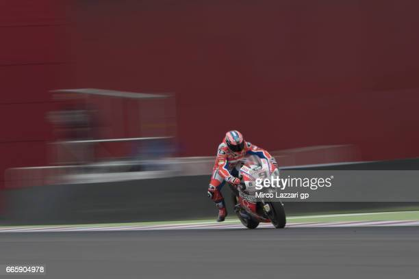 Danilo Petrucci of Italy and Octo Pramac Yakhnich heads down a straight during the MotoGp of Argentina Free Practice on April 7 2017 in Rio Hondo...