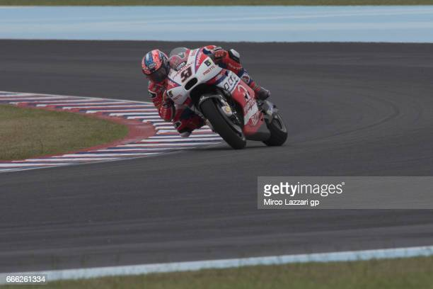 Danilo Petrucci of Italy and Octo Pramac Yakhnich rounds the bend during the MotoGp of Argentina Qualifying on April 8 2017 in Rio Hondo Argentina