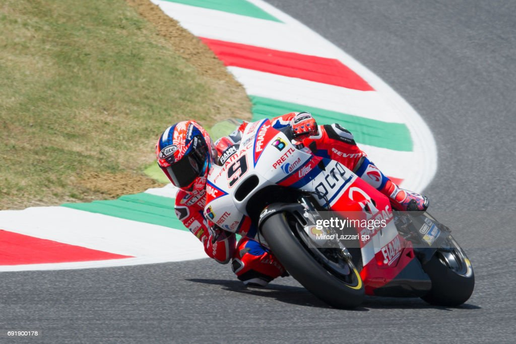 Danilo Petrucci of Italy and Octo Pramac Yakhnich rounds the bend during the MotoGp of Italy - Qualifying at Mugello Circuit on June 3, 2017 in Scarperia, Italy.