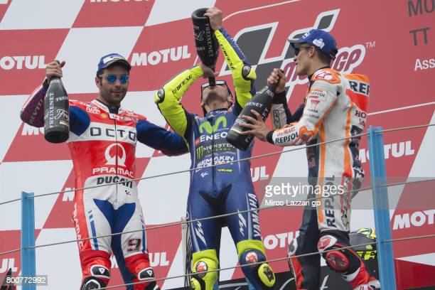 Danilo Petrucci of Italy and Octo Pramac Yakhnich Valentino Rossi of Italy and Movistar Yamaha MotoGP and Marc Marquez of Spain and Repsol Honda Team...