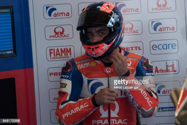 Danilo Petrucci of Italy and Pramac Racing prepares to start from box during the MotoGp Red Bull US Grand Prix of The Americas Free Practice at...