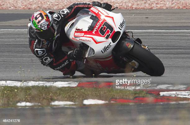 Danilo Petrucci of Italy and Pramac Racing rounds the bend during the MotoGP Tests in Sepang Day One at Sepang Circuit on February 23 2015 in Kuala...