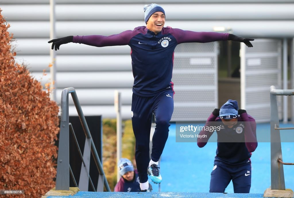 Danilo reacts during training at Manchester City Football Academy on December 12, 2017 in Manchester, England.