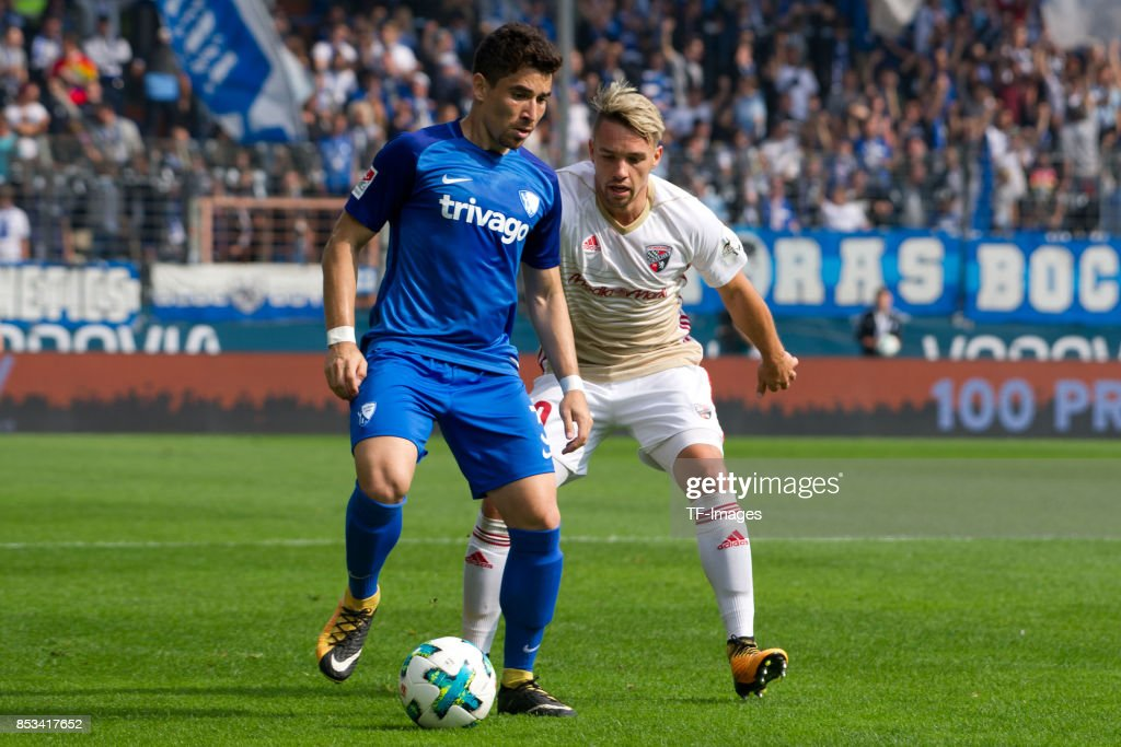 Danilo Soares of Bochum and Thomas Pledl of Ingolstadt battle for the ball during the Second Bundesliga match between VfL Bochum 1848 and FC Ingolstadt 04 at Vonovia Ruhrstadion on September 24, 2017 in Bochum, Germany.