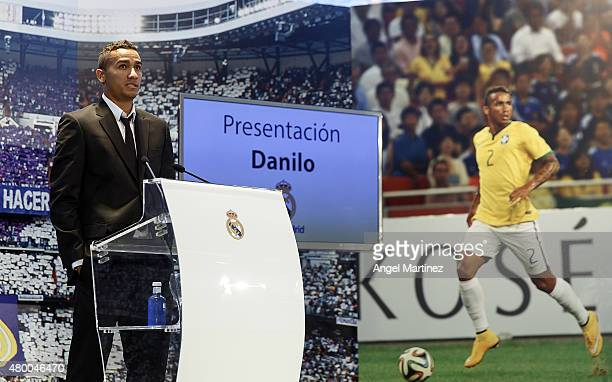 Danilo talks to the media during his official presentation as a new Real Madrid player at Estadio Santiago Bernabeu on July 9 2015 in Madrid Spain