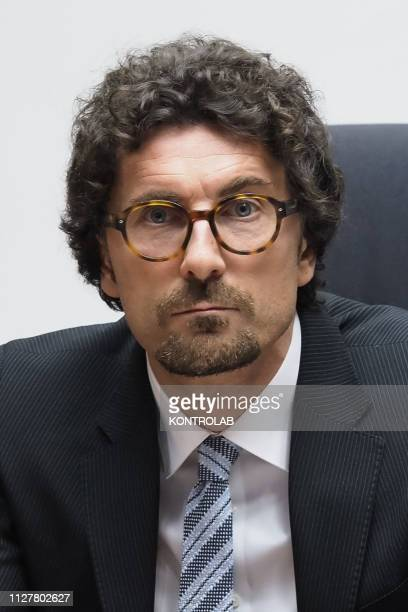 Danilo Toninelli Minister for Infrastructures and Transport during the debate on his visit to Calabria Southern Italy