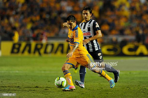 Danilo Verón fights for the ball during the match between Tigres and Monterrey as part of the Clausura Tournament 2013 on May 11 2013 in Monterrey...