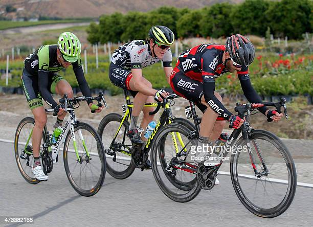 Danilo Wyss of Switzerland riding for BMC Racing leads the remaining members of the breakaway Alex Howe of the United States riding for Team...