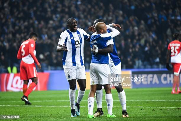 Danilo Yacine Brahimi and Vincent Aboubakar of Porto celebrates a goal during the Uefa Champions League match between Fc Porto and As Monaco at...