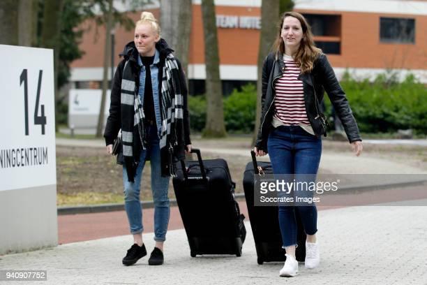Danique Kerkdijk of Holland Women, Ellen Jansen of Holland Women during the Arrival Holland Women at the KNVB Campus at the KNVB Campus on April 2,...