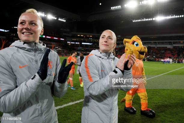 Danique Kerkdijk of Holland Women, Loes Geurts of Holland Women celebrates the victory during the EURO Qualifier Women match between Holland v Russia...
