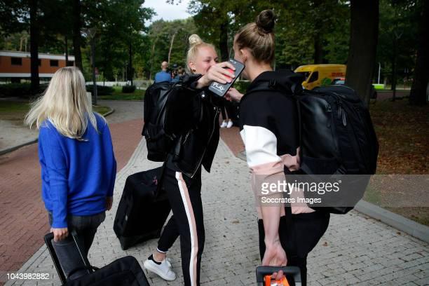 Danique Kerkdijk of Holland Women, Sari van Veenendaal of Holland Women during the Arrival Holland Women at the KNVB Campus at the KNVB Campus on...
