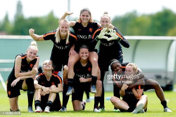 Danique Kerkdijk of Holland Women, Vivianne Miedema of Holland Women, Stefanie van der Gragt of Holland Women, Danielle van de Donk of Holland Women,...