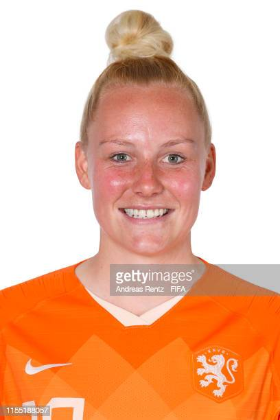 Danique Kerkdijk of the Netherlands poses for a portrait during the official FIFA Women's World Cup 2019 portrait session at Hotel Novotel Le Havre...