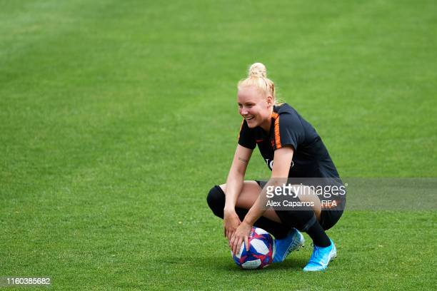 Danique Kerkdijk of The Netherlands smiles during a training session ahead of the 2019 FIFA Women's World Cup France Final match between The United...