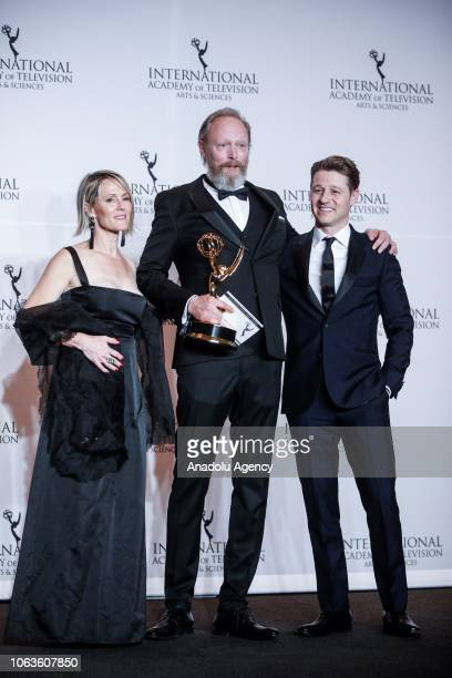 Danish actor Lars Mikkelsen give a pose with their award during the 46th International Emmy Awards at New York Hilton on November 19 2018 in New York...