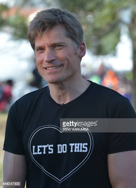 Danish actor Nikolaj CosterWaldau is pictured prior to referee a match as part of the Global Goals World Cup women's soccer tournament in Nairobi The...
