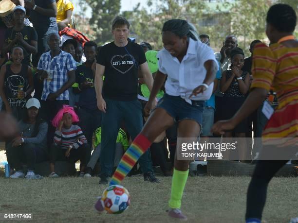 Danish actor Nikolaj CosterWaldau referees a match as part of the Global Goals World Cup women's soccer tournament in Nairobi The Global Goals World...
