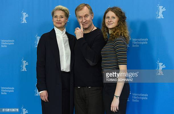 Danish actor Trine Dyrholm Danish actor Ulrich Thomsen and Danish actress Martha Sofie Wallstrom Hansen pose during a photocall for the film...