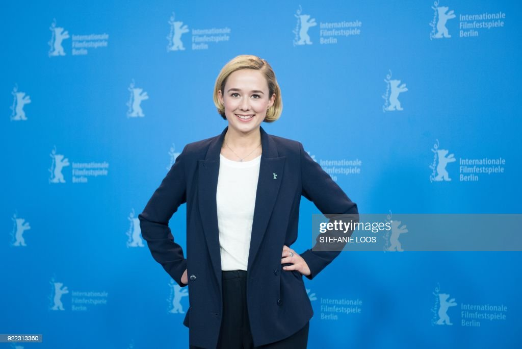Danish actress Alba August poses during the photo call for the film 'Becoming Astrid' (Unga Astrid) presented in the 'Berlinale special gala' category during the 68th edition of the Berlinale film festival in Berlin on February 21, 2018. / AFP PHOTO / Stefanie Loos